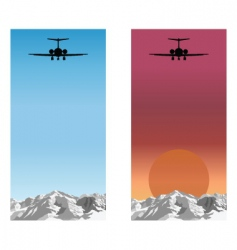 airplane over mountain vector image
