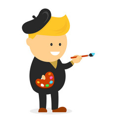 artist painter cartoon flat design vector image