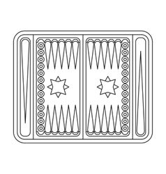 Backgammon icon in outline style isolated on white vector