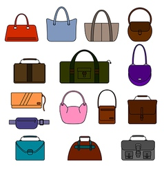 Bag purse set vector