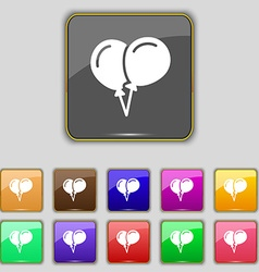 Balloon Icon sign Set with eleven colored buttons vector