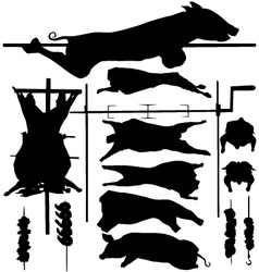 Barbecue BBQ related objects silhouettes vector