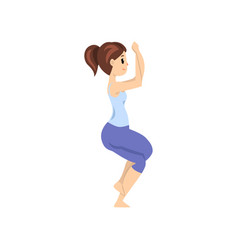 beautiful woman standing in garudasana pose girl vector image