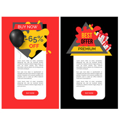 best discount and products 65 percent sale banner vector image