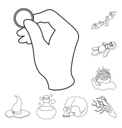 black and white magic outline icons in set vector image