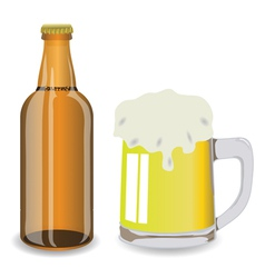 bottle and mug of beer vector image
