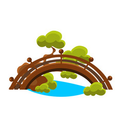 Bridge over blue stream bonsai miniature vector