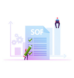 Businesswoman filling paper form with sop vector