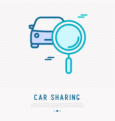 Car sharing icon car and magnifier thin line icon vector