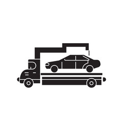 car transporter black concept icon car vector image