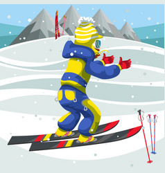 Cartoon boy in suit learning to ski on holiday vector