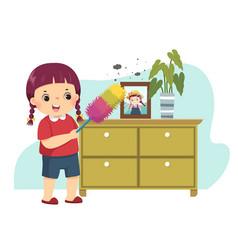 cartoon little girl dusting cabinet vector image