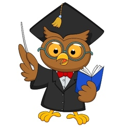 Cartoon Owl wearing a graduation uniform giving a vector image