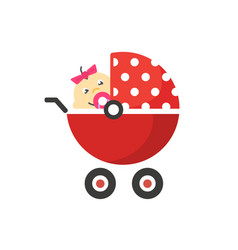 Child buggy or bastroller pram icon with vector