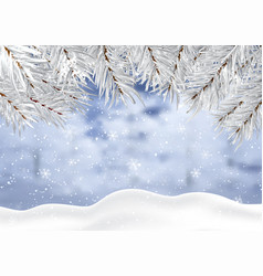 christmas background with winter snow and tree vector image