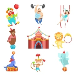 Circus Related Objects And Characters Set vector