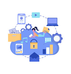 Cloud storage data security concept cloud vector