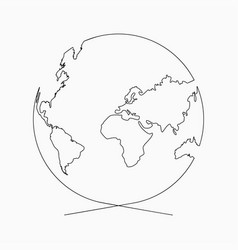 Continuous line globe earth one line drawing vector