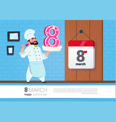cook holding cake for 8 march holiday happy women vector image