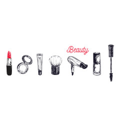 cosmetics and beauty background with make up vector image