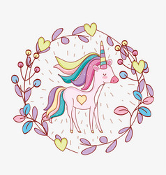 Cute unicorn with hairstyle and plants leaves vector