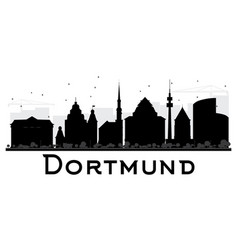 Dortmund city skyline black and white silhouette vector