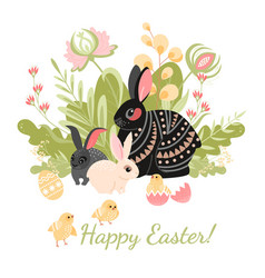 easter card with cute rabbits chickens and eggs vector image