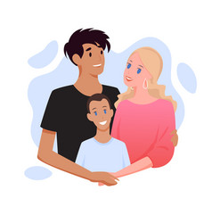 Family with different nationality people happy vector