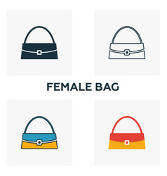 female bag icon set four elements in diferent vector image