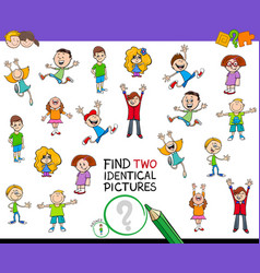 Find two identical pictures game for children vector