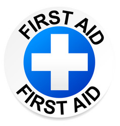first aid badge with white cross over color vector image