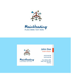flat air turbine logo and visiting card template vector image