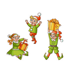 flat elves boy girl christmas scenes set vector image