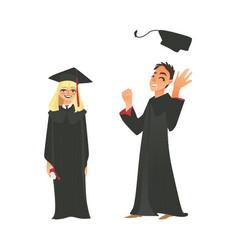 Flat girl boy graduate in gown cap vector