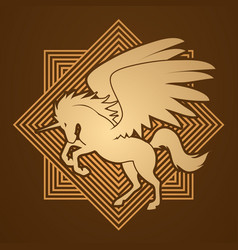 Fly unicorn silhouette vector