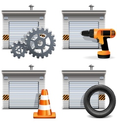 Garage with tools and spares vector