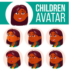 Girl avatar set kid primary school indian vector