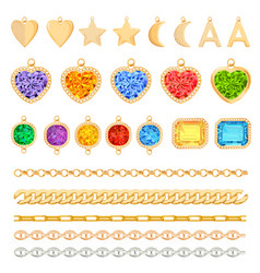 golden chains precious gemstones diamonds set vector image