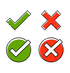 green tick and red cross set right or wrong true vector image