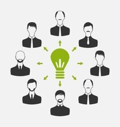 group of business people gather together process vector image