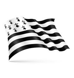 gwen-ha-du flag brittany waving on wind vector image