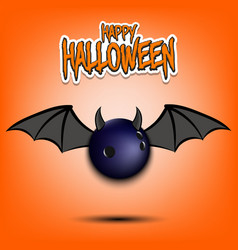 Happy halloween bowling ball with horns and wings vector
