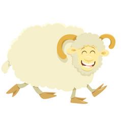 happy ram farm animal character vector image