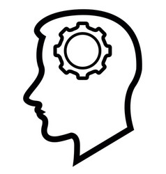 head silhouette with a gear piece icon vector image
