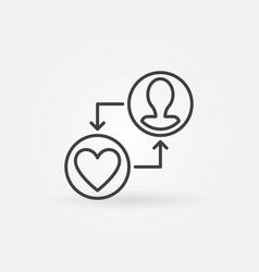 human face with heart donation outline icon vector image