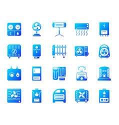 Hvac simple gradient icons set vector