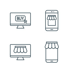 Internet marketplace and online market line icons vector
