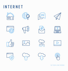 internet thin line icons set vector image