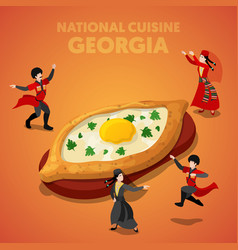 Isometric georgia national cuisine with khachapuri vector