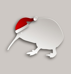Kiwi with christmas cap vector image